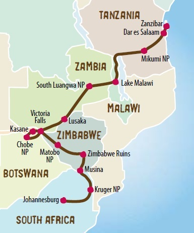 South Africa And Travels North Through Zimbabwe Botswana Zambia Malawi To Zanzibar Ending In Dar Es Salaam Tanzania